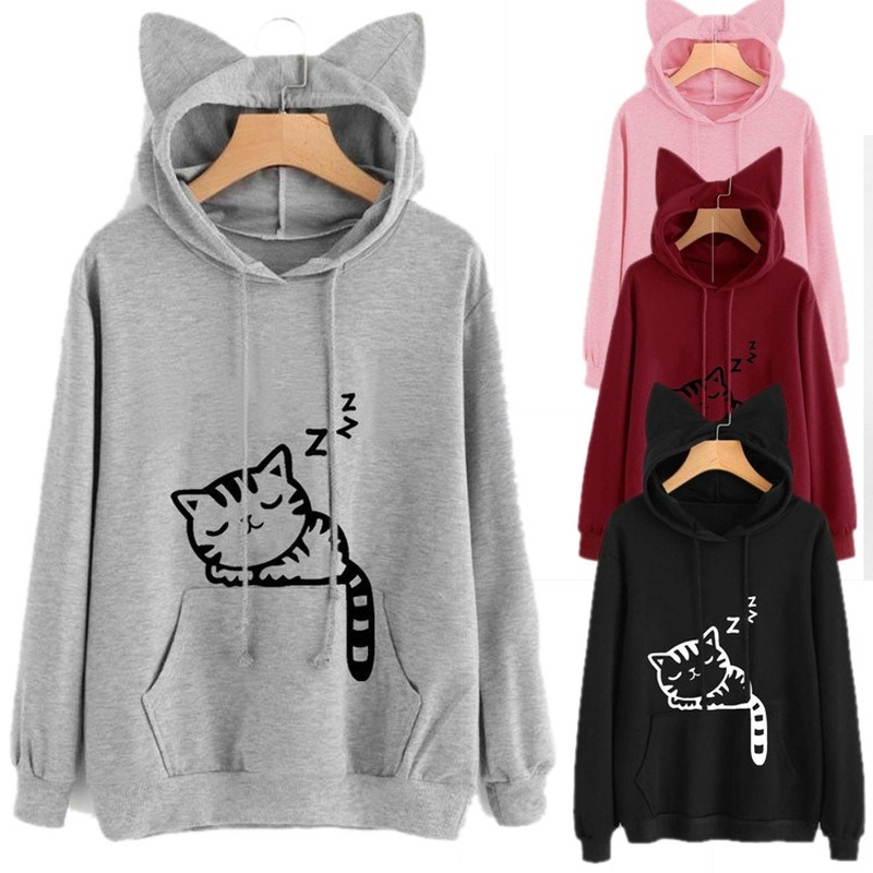 5 Color Womens Hoodies Pullover Cute Cat Ears Hooded 2020 Fashion Spring Women Clothes Sweatshirt Long Sleeve Hoodie Tops