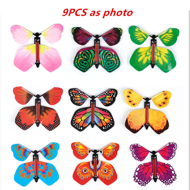Childrens Magic Prop Toy Butterfly Toy Magic Flying Butterfly Pupa Into Butterfly Free Butterfly Flying Butterfly Rubber Band Power Spring
