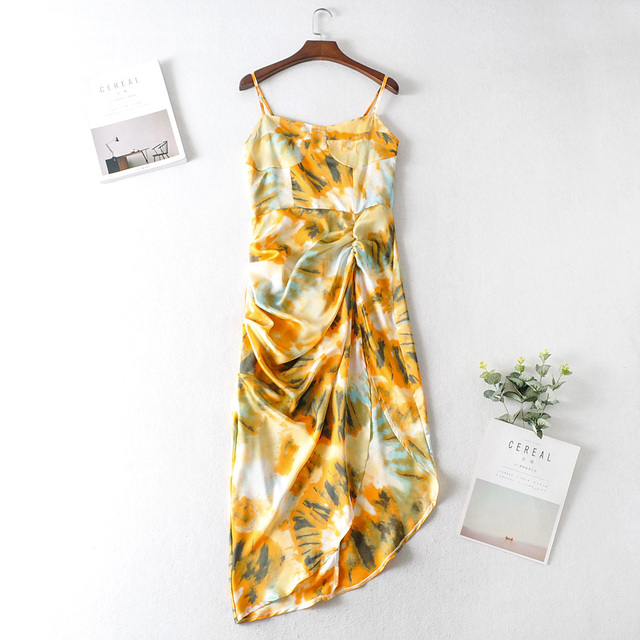 2020 Women Vintage Yellow Tie dye Flower print  Spaghetti Strap Dress Hem Slim Waist Slit Irregular Long Dresses Sling Vestido 3