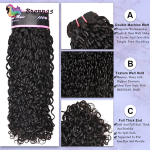 Image 2 - Double Drawn Funmi hair bundles with closure pixie curl human hair weave Brazilian non Remy hair 4x4 lace closure natural color