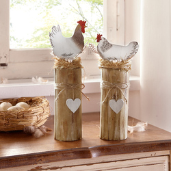 Cute Wooden Double Chicken Ornament, Lovely Hen, Spring Decoration in European Countries, Garden Decoration, Easter Gift, Christ