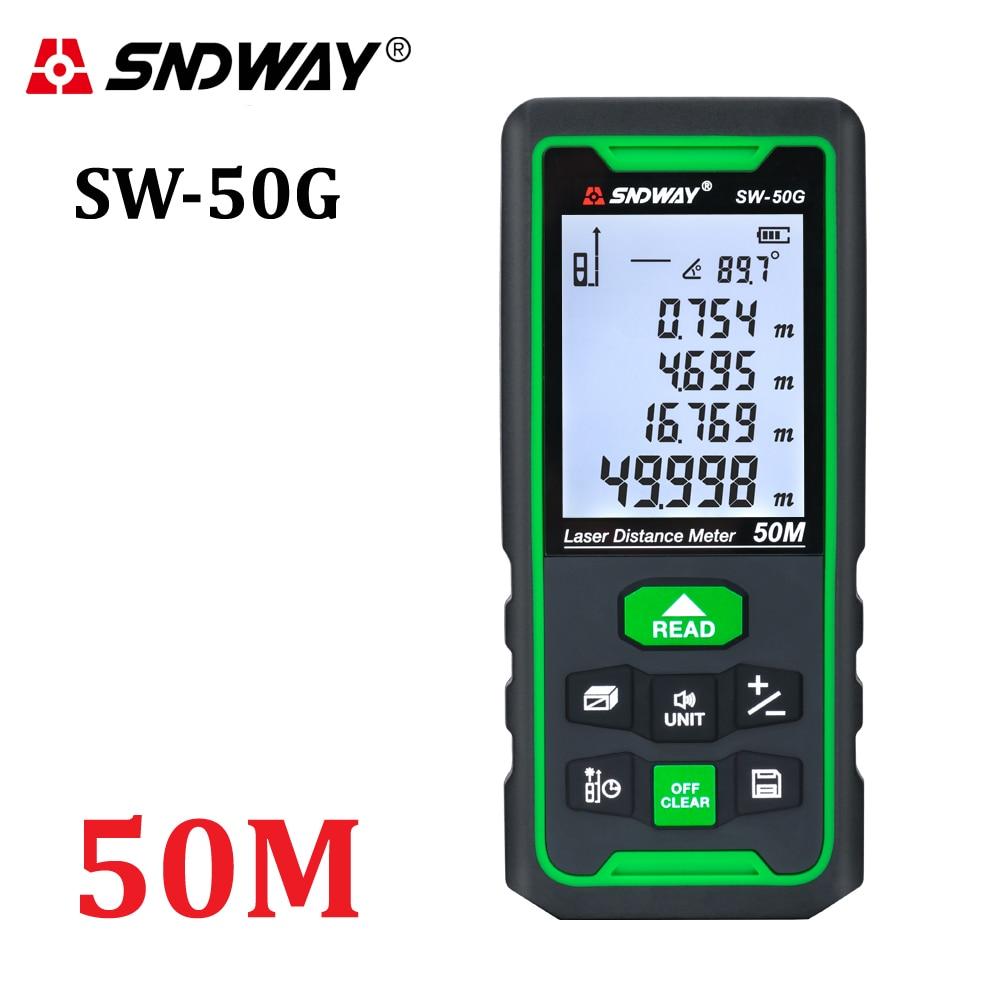 Tools : SNDWAY Laser Distance Meter Green Digital Rangefinder 100m 70m 50m Range Finder Tape Measure Electronic Level Ruler Roulette