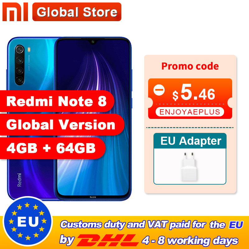 "Global Version Xiaomi Redmi Note 8 4GB 64GB Snapdragon 665 Octa Core Smartphone 6.3"" 48MP Quad Rear Camera(China)"