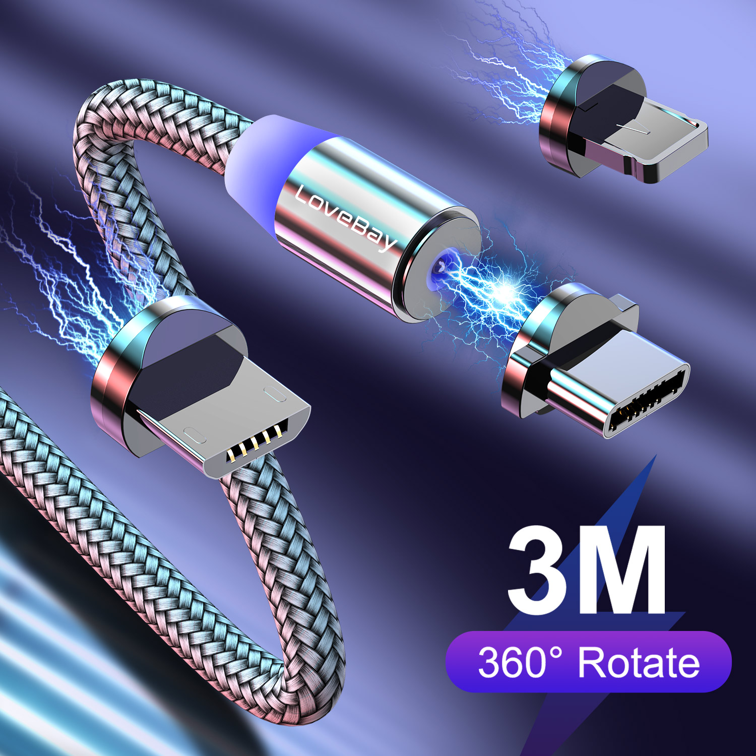 Lovebay Magnetic USB <font><b>Cable</b></font> Fast Charging For Iphone TYPE-C Micro 0.5/<font><b>1</b></font>/2/3M Magnet USB <font><b>Cable</b></font> Mobile Phone USB Charging Cord image