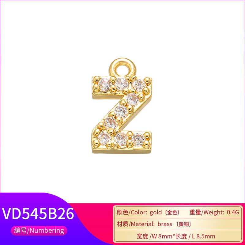 ZHUKOU 26 8x8.5mm Latão Cubic Zirconia Cristal Carta Encantos Pingentes para Mulheres Colar brinco jóias acessórios modelo: VD545