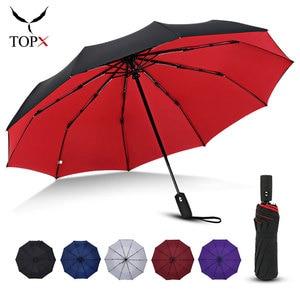 Wind Resistant Double Cloth 3Folding Automatic Umbrella Rain Women Business For Men Portable Large Umbrellas Female Male Parasol
