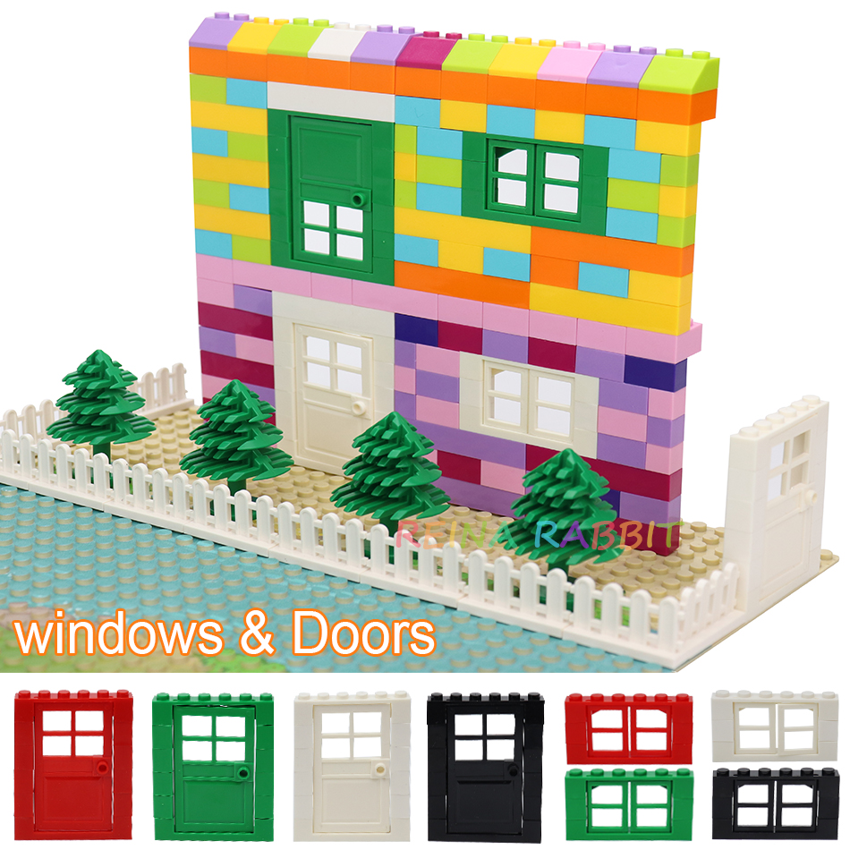 Door Window Fence Wall Bricks MOC City House Villa Parts DIY MOC Friends Building Blocks Educational Kids Toys