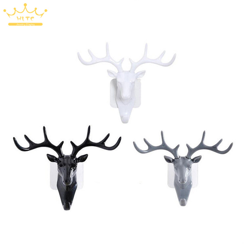 Cool Resin Animal Deer Stags Head Hook Hanger Jewelry Ring Necklace Bracelet Wall Door Cabinet Holder Decor Display Hook Rack