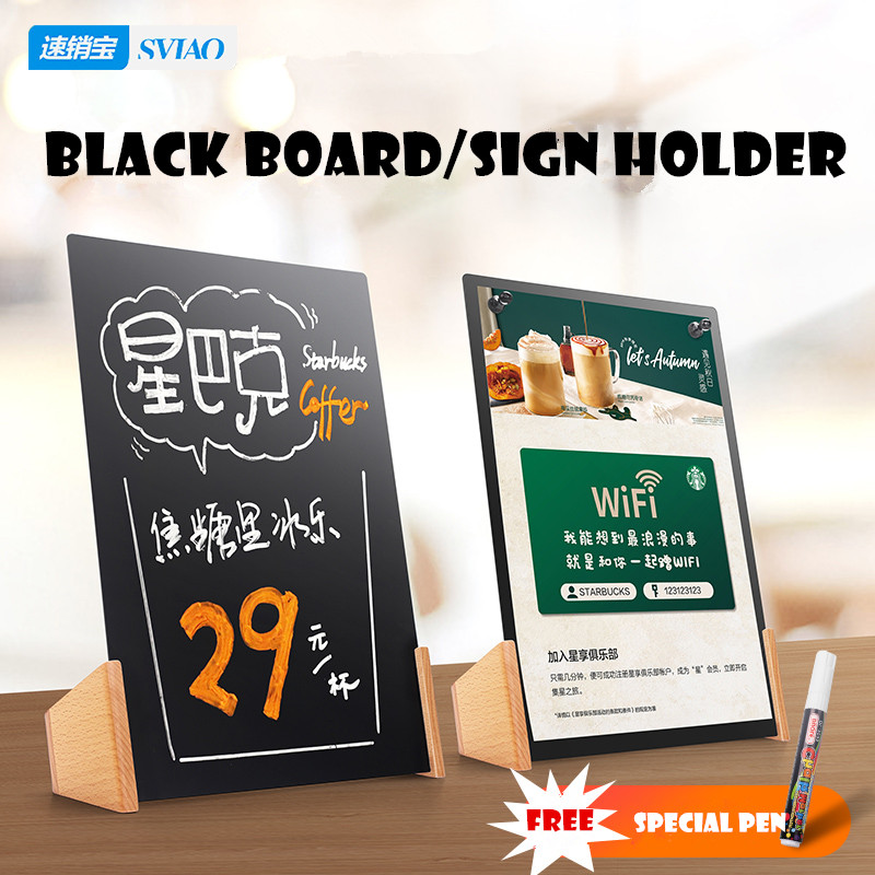 Sviao Handwritten Magnetic Black Board A4 With A Free Pen Sign Holder For Bar Restaurant Display