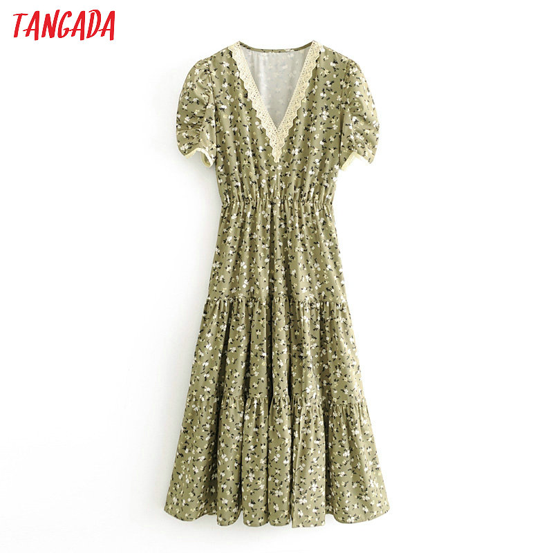 Tangada Women Green Floral Lace Patchwork Dress Summer 2020 Short Sleeve Ladies Tunic Midi Dress Vestidos 3H412