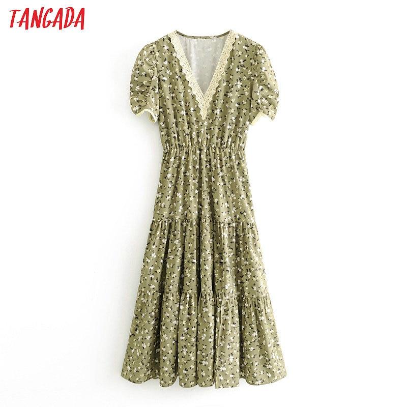 Tangada Women Green Floral Lace Patchwork Dress Summer 2020 Short Sleeve Ladies Tunic Midi Dress Vestidos 3H412