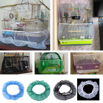Nylon Mesh Bird Cage Cover Shell Skirt Net Easy Cleaning Seed Catcher Guard Accessories Airy Parrot