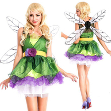 DMCOS Flower Fairy Dress Princess Cosplay Forest Green Elf Halloween Christmas Party Costume Nightclub Bar Femal