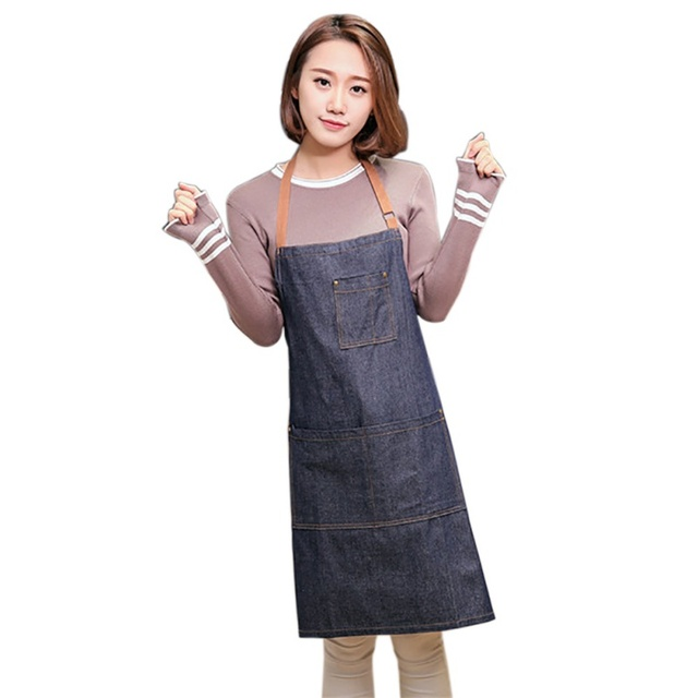 100% cotton Hot Antifouling Aprons Unisex Uniform Denim Cowboy Simple Chef Cooking Aprons for Women  Kitchen Apron 5