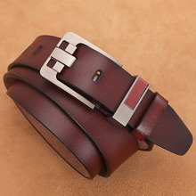 Men Belt Real-Leather Buckle-Jeans Waist-Strap Plus-Size Pin 100-110-120-130 140 150-160