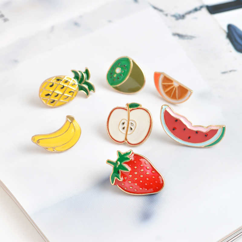 Летние Броши с эмалью фруктов, оптовая продажа, милые нагрудные значки с яблоком из сосны, авокадо, яблоком, рубашка с растениями, мешочек для украшений, подарок