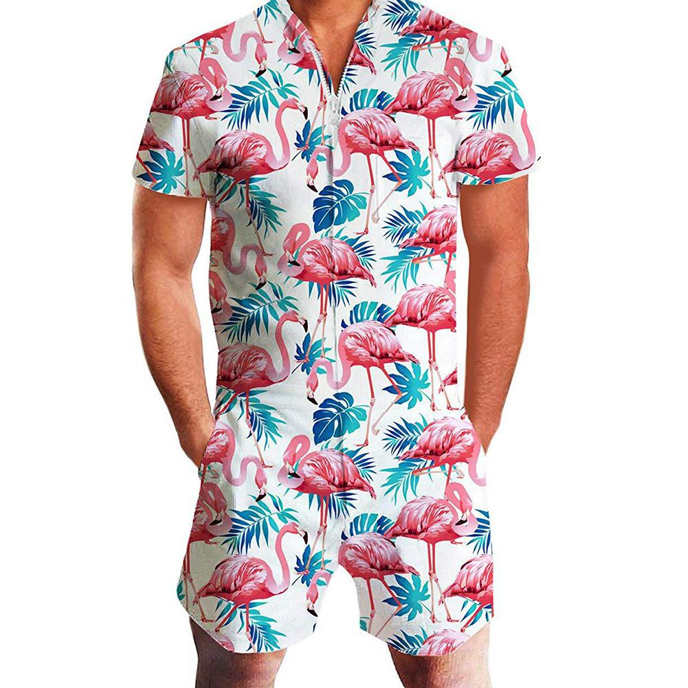 Newest Summer Men Flamingo Pineapple Leopard Print Zipper Short Sleeve Jumpsuit Romper