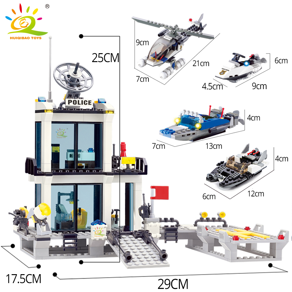 Image 4 - HUIQIBAO 536pcs Police Station Prison Trucks Building Blocks City Car Boat Helicopter policeman Bricks Children Toys KIDS GIFTtoys forblocks policeblocks police station -