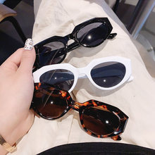 Então & ei ins moda popular pequeno gato olho feminino óculos de sol do vintage chá cinza lente oval óculos de sol dos homens máscaras uv400