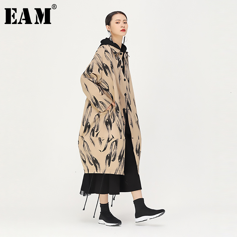 [EAM] Women Pattern Printed Big Size Long Trench New Lapel Long Sleeve Loose Fit Windbreaker Fashion Autumn Winter 2019 1K087