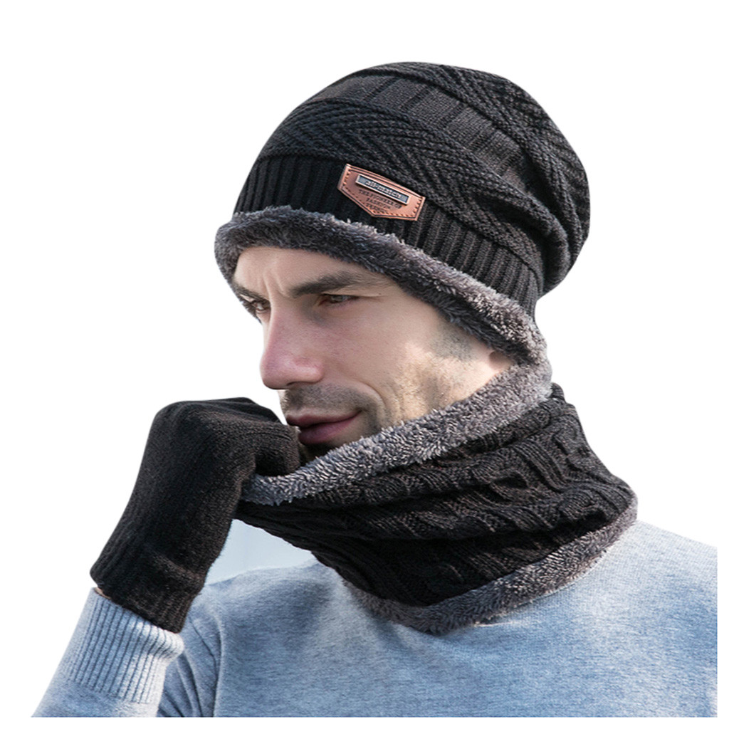 Scarf Neckerchief Mens Boys Hat Winter  Baggy Warm Wool Fleece Ski Cap