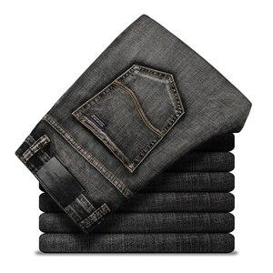 Image 5 - Pantalones vaqueros clásicos para Hombre, ropa masculina de tela vaquera, suave, de motorista, color negro