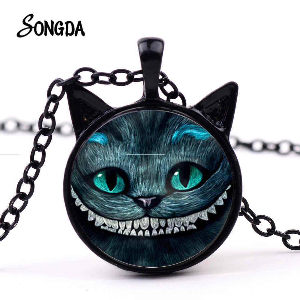 SONGDA New Cheshire Cat Movie Necklace Alice Adventures In Fairyland Smile Cat Pendant Funny Picture Glass Dome Ears Long Chain