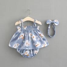 Novo bebê recém-nascido meninas roupas sem mangas vestido + cuecas 2 pçs conjunto de roupas listrado impresso bonito conjuntos de roupas verão sunsuit 0-24m