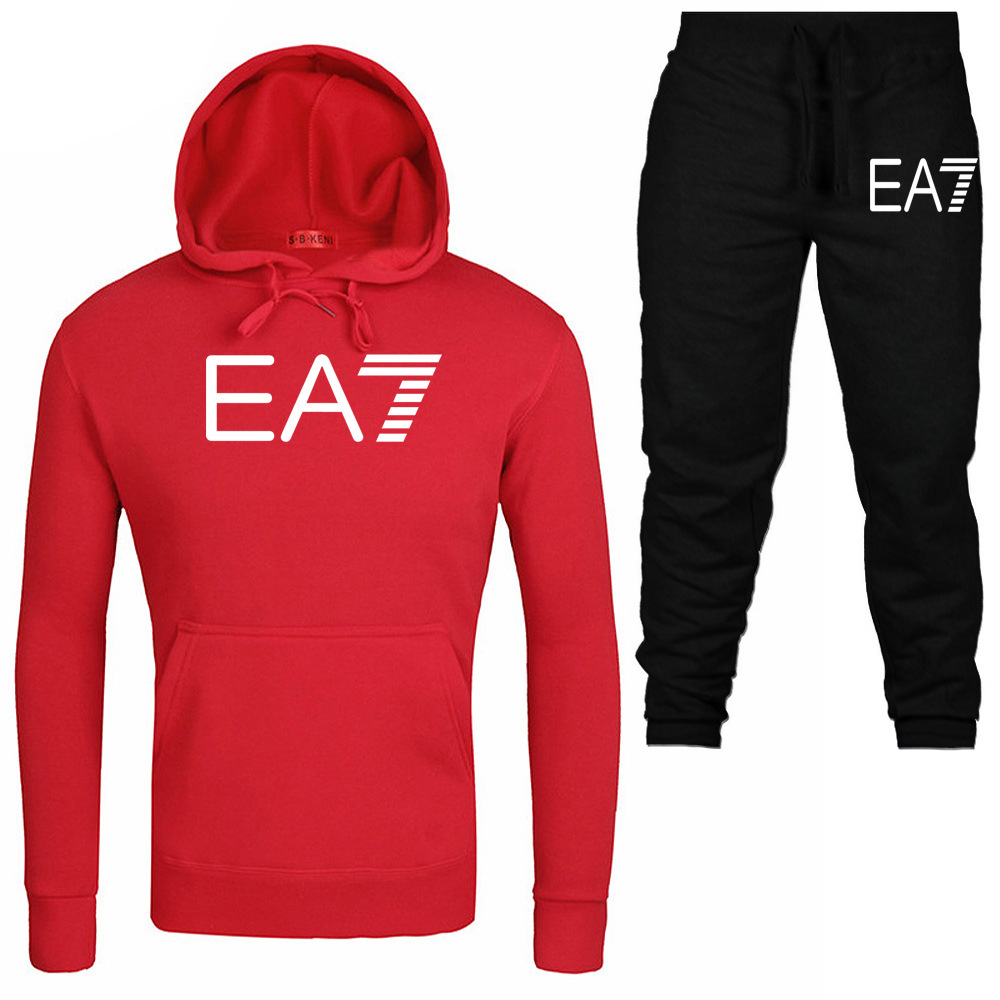 Sports Couples Set Men's Spring And Autumn EA7 Hoodie Leisure Suit Men Hooded Two-Piece Set