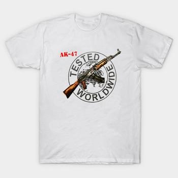 Russian Graphic Cotton Gray T-Shirt AK-47 Kalashnikov Gun Shirt