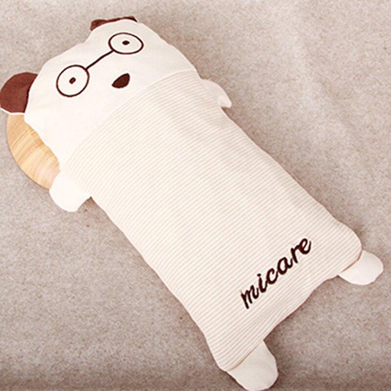 Almohada de algodón para recién nacido de 0-6 años de edad, almohada suave de algodón con alforfón de diseño completo de dibujos animados almohada para bebé