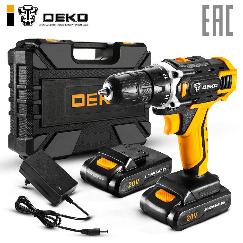 Deko аккумуляторная дрель-отвертка dkcd20fu-li 20v 063-4102 / 063-4172