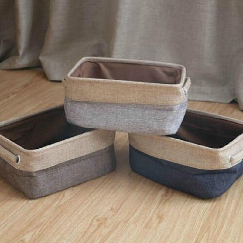 Nordic linen storage basket desktop sundries storage box cosmetics snack basket remote control storage LB919108