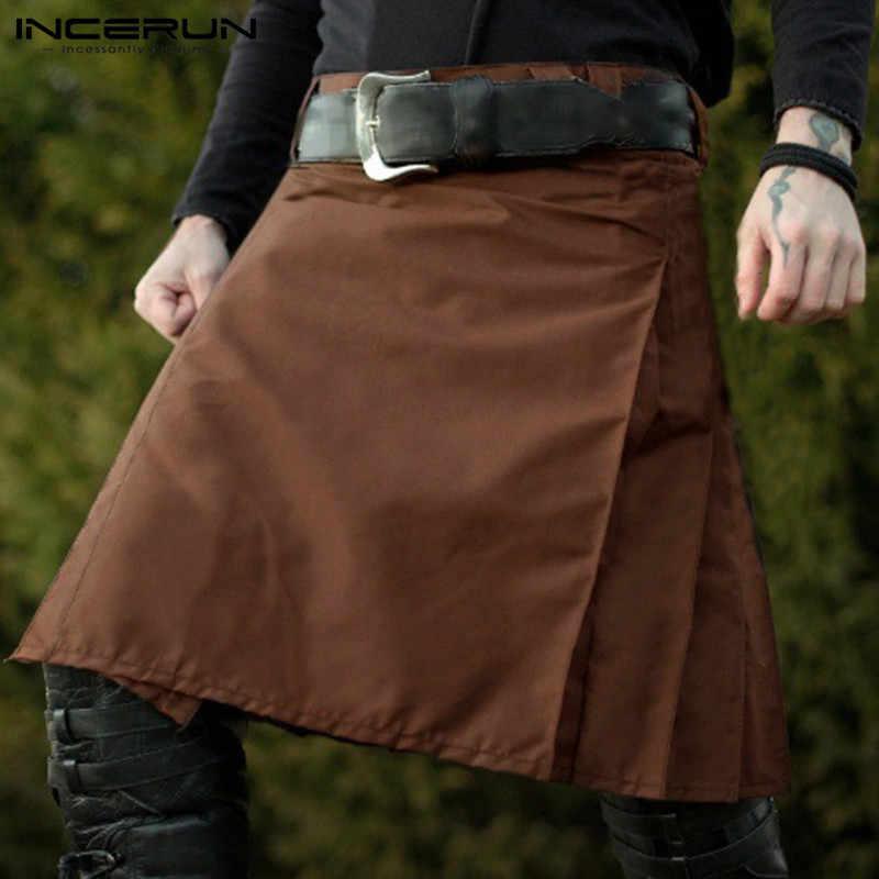 INCERUN בציר Mens סקוטי חצאית מסורתית קפלים גותי פאנק סקוטי חצאיות מכנסיים חצאיות סקוטיות גברים מוצק צבע חצאיות 2020