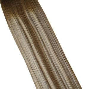 Image 3 - VeSunny One Piece Invisible Halo Hair Extensions Real Human Hair Flip Wire with Clips on Balayage Color #6/60/6 Brown mix Blonde