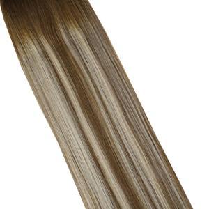 Image 3 - VeSunny One Piece Invisible doczepiane włosy prawdziwe ludzkie włosy odwróć drut z klipsami na Balayage kolor #6/60/6 Brown mix Blonde
