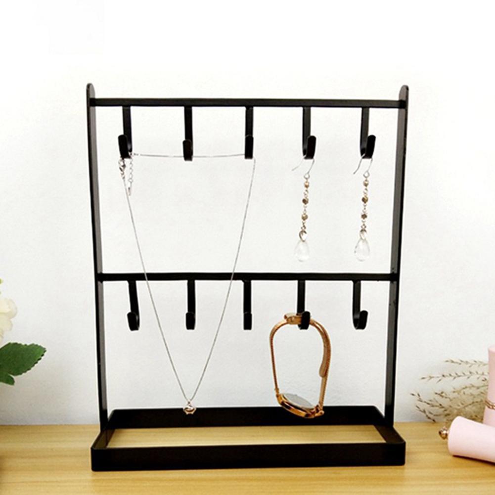 2-Layer Jewelry Storage Rack Earrings Necklace Holder Stand Jewelry Bracelet Display Hook Rack Shelf Black White Gold Porta Joia