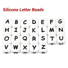 * 100pc Alphabet Letter Food Grade Silicone Chewing Beads for Teething Necklace in 26 letters BPA Free FDA Silicone Letter Beads