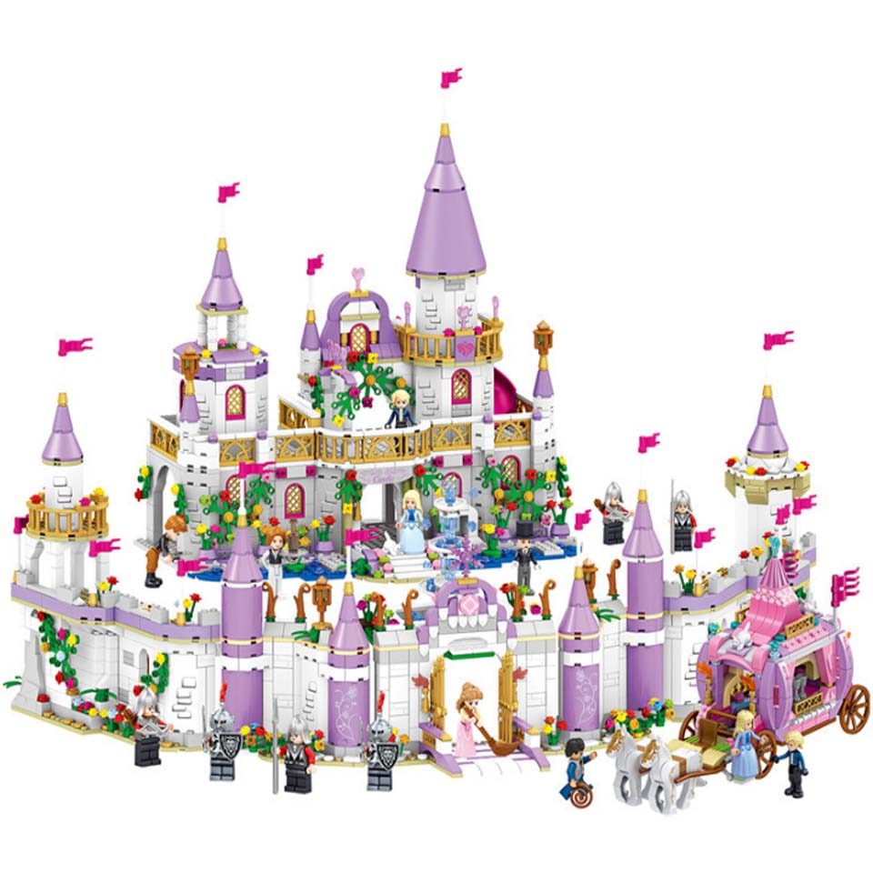 731PCS Gril Legoinglys Friends Princess Windsor's Castle Cinderella Princess Royal Carriage Model Building Blocks Kit Toys Gifts