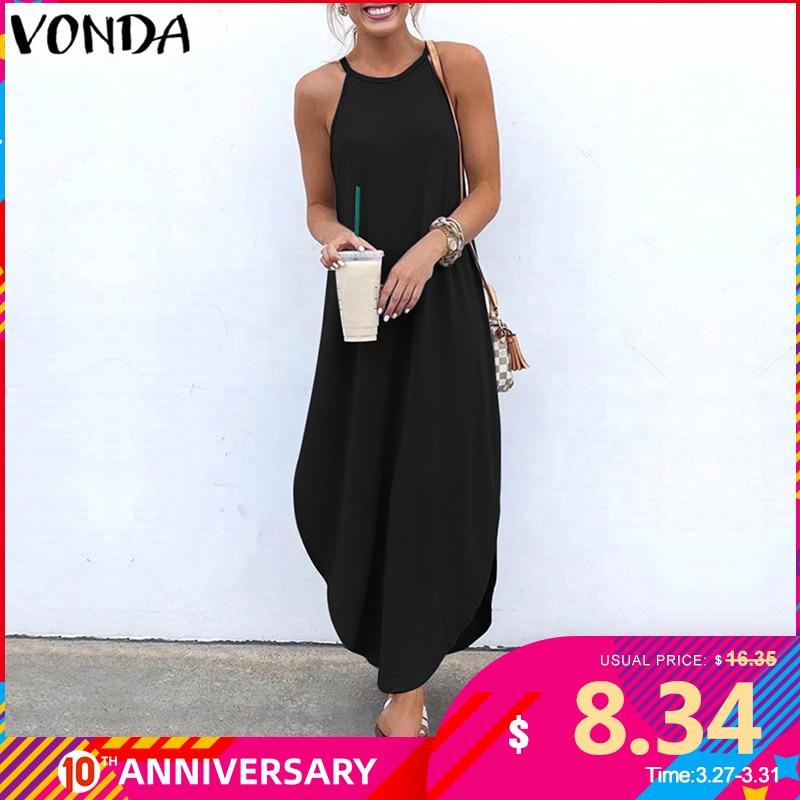 VONDA Women Dress 2020 Summer Sexy Strap Sleeveless Irregular Party Maxi Long Dresses Female Casual Loose Plus Size Vestidos