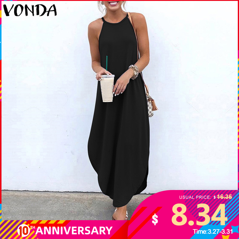 VONDA Women Dress 2020 Summer Sexy Strap Sleeveless Irregular Party Maxi Long Dresses Female Casual Loose Plus Size Vestidos
