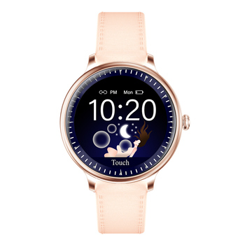 RUNDOING NY12 Stylish women smart watch Round Screen smartwatch for Girl Heart rate monitor compatible For Android and IOS 8