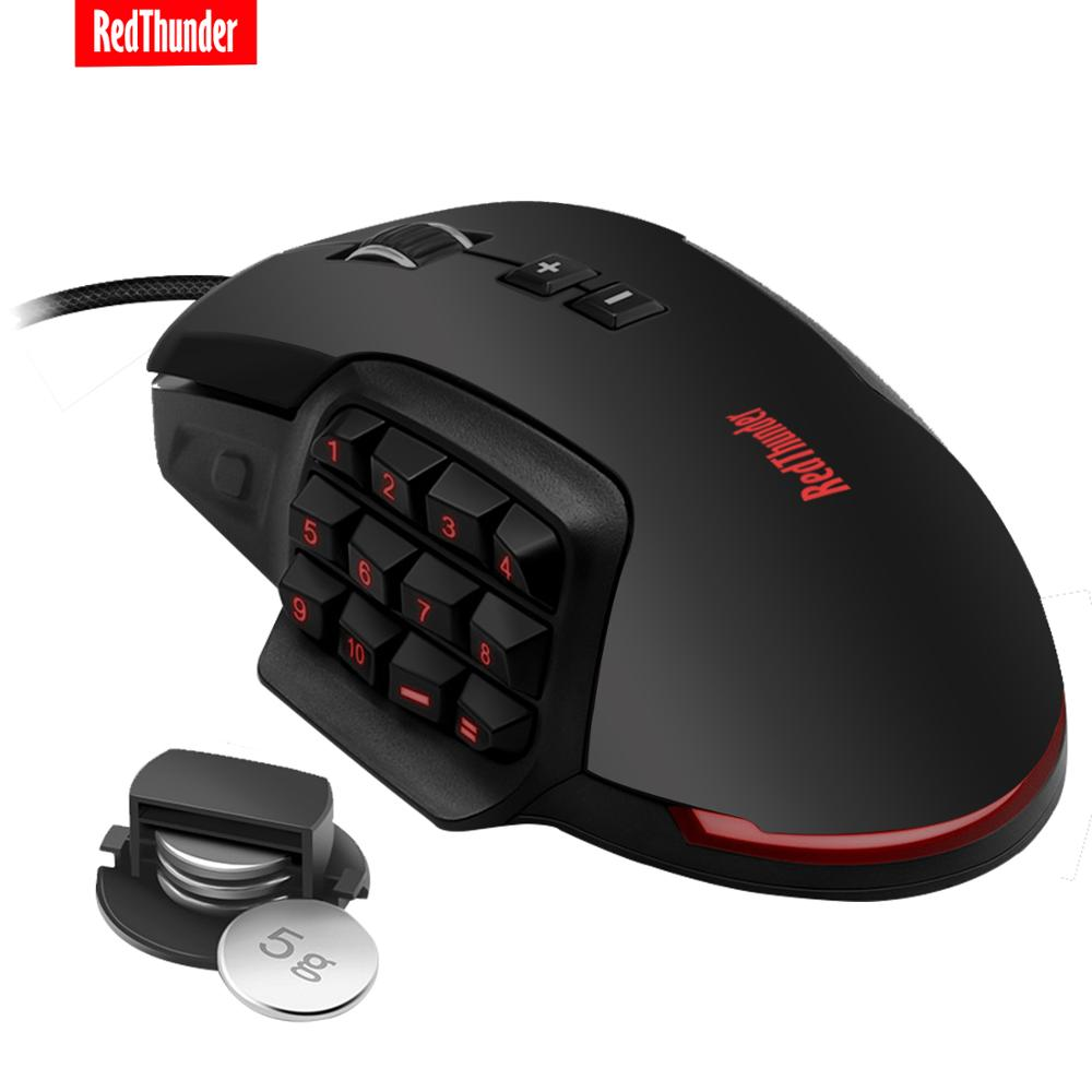 RedThunder MMO Gaming Mouse 10000 DPI 17-KEY Programmable Mouse High Sensitivity Mouse RGB Backlight Mouse For Laptop PC Gamer image