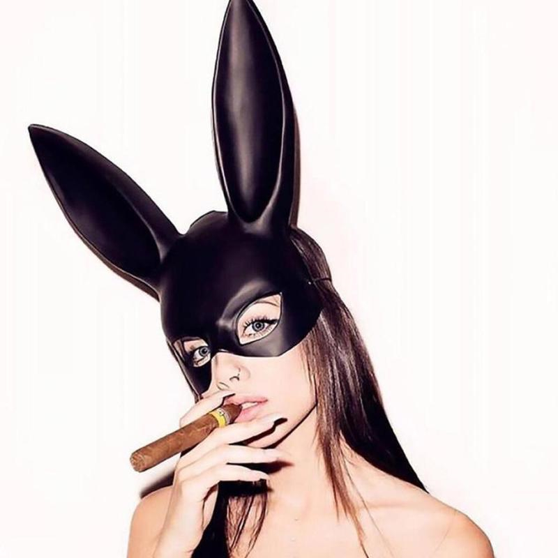 Mark Black Women Girl <font><b>Sexy</b></font> Rabbit Ears <font><b>Mask</b></font> Cute Bunny Long Ears Bondage <font><b>Mask</b></font> <font><b>Halloween</b></font> Masquerade Party Cosplay Costume Props image