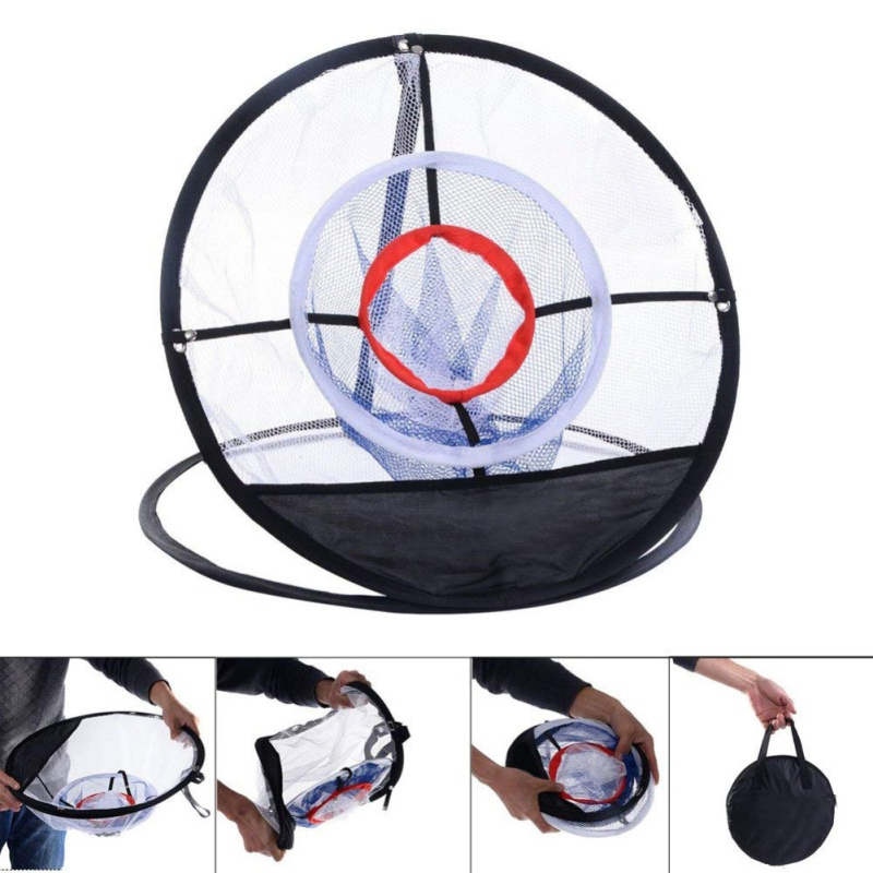 New Indoor Outdoor Chipping Pitching Cages Mats Practice Easy Net Golf Training Aids Metal + Net