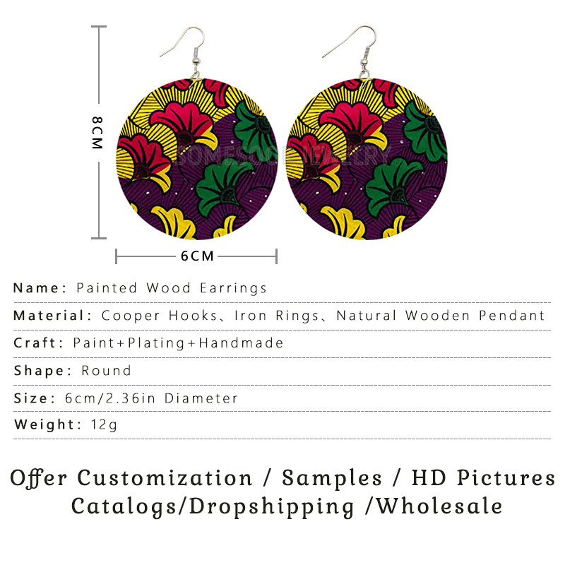 SOMESOOR 6 Styles Mixed Packaging African Pattern Wooden Both Sides Printing Dangle Earrings For Women Gifts Hot Wholesale