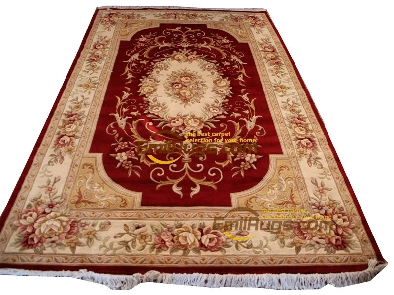 Long Carpet Wool French Carpet  About Hand-knotted Thick Plush Savonnerie Rug  6.4' X 9.51'