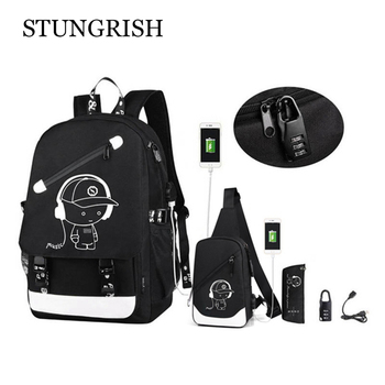 Anti-Theft Backpack for Boys 15.6'' Laptop with USB Charging Port Bookbag School Black Travel Bags Large Capactiy - discount item  50% OFF School Bags