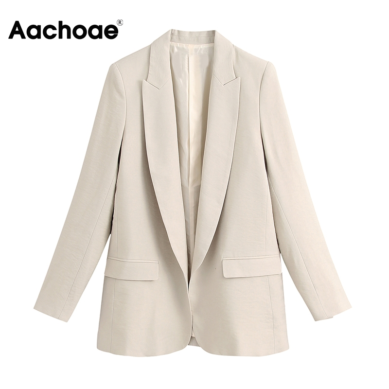 Aachoae Solid Casual Office Blazer Women Long Sleeve Work Wear Suit Jacket Blazers 2020 Notched Collar Pockets Outwear Coat