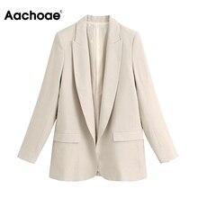 Aachoae Solid Casual Office Blazer Women Long Sleeve Work Wear Suit
